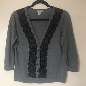 H&M Cardigan open front with lace detail.